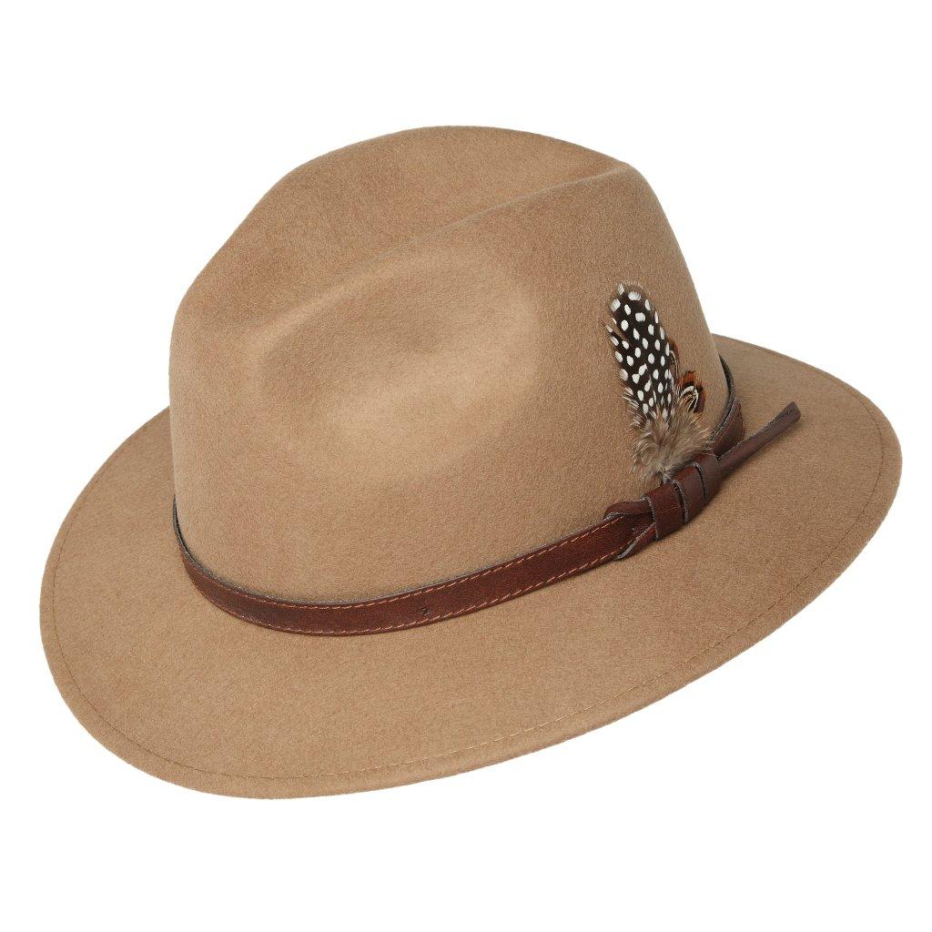Pánský béžový klobouk zdobený peřím